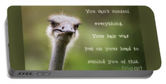 Ostrich Having A Bad Hair Day Portable Battery Charger