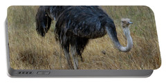 Ostrich In The Grass 1 Portable Battery Charger