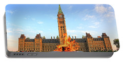 Ottawa Parliament Hill With Centennial Flame Portable Battery Charger by Charline Xia