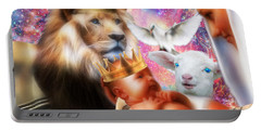 Portable Battery Charger featuring the digital art Our Saviors Birth by Dolores Develde