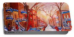 Portable Battery Charger featuring the painting Out For A Walk With Mom by Carole Spandau