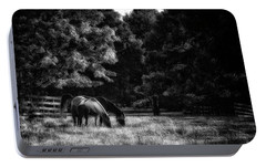 Portable Battery Charger featuring the photograph Out To Pasture Bw by Mark Fuller