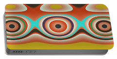 Ovals And Circles Pattern Design Portable Battery Charger by Jessica Wright