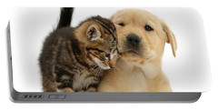 Over Friendly Kitten Portable Battery Charger