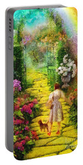 Portable Battery Charger featuring the painting Over The Rainbow by Mo T