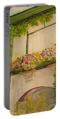 Portable Battery Charger featuring the painting Overlooking Butchard Gardens  by Vicki  Housel