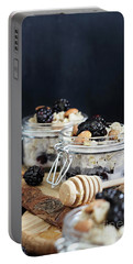 Overnight Oatmeal With Blackberries And Honey Portable Battery Charger