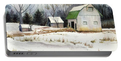 Portable Battery Charger featuring the painting Owen County Winter by Katherine Miller