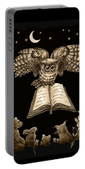 Owl And Friends Sepia Portable Battery Charger