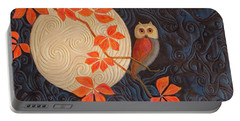Portable Battery Charger featuring the painting Owl And Moon On A Quilt by Nancy Lee Moran