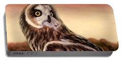 Owl At Sunset Portable Battery Charger