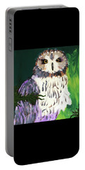 Owl Behind A Tree Portable Battery Charger