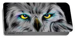 Portable Battery Charger featuring the drawing Owl Eyes  by Nick Gustafson