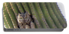 Owl In Cactus Burrow Portable Battery Charger