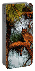 Owl In The Very Last Sunset Light Portable Battery Charger