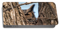 Owl Peek Portable Battery Charger by Steve Stuller