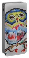 Owl Will Alway Love You - Whimsical Colorful Original Painting #646 Portable Battery Charger by Ella Kaye Dickey