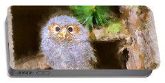 Portable Battery Charger featuring the digital art Owlet-baby Owl by Maciek Froncisz