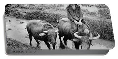 Portable Battery Charger featuring the photograph Oxen Day Off.cambodia Bw by Jennie Breeze