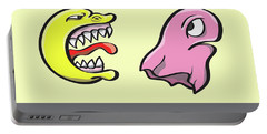 Pac Man And Ghost Illustration Portable Battery Charger