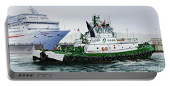 Portable Battery Charger featuring the painting Pacific Escort Cruise Ship Assist by James Williamson