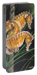 Portable Battery Charger featuring the painting Pacific Lined Seahorse Trio by Phyllis Beiser