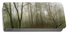 Pacific Northwest Foggy Morning Forest Scene Portable Battery Charger