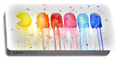 Pacman Watercolor Rainbow Portable Battery Charger