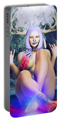Portable Battery Charger featuring the painting Pagan Paradise by Baroquen Krafts