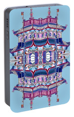 Portable Battery Charger featuring the photograph Pagoda Tower Becomes Chinese Lantern 2 Chinatown Chicago by Marianne Dow