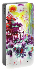 Portable Battery Charger featuring the painting Pagoda by Zaira Dzhaubaeva