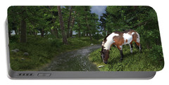 Paint Horse By The Forest Stream Portable Battery Charger by Jayne Wilson