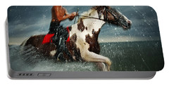 Paint Horse Running In The Water Portable Battery Charger