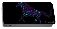 Portable Battery Charger featuring the painting Paint Splattered Pony by Nick Gustafson