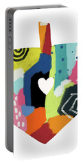 Portable Battery Charger featuring the mixed media Painted Dreidel With Heart- Art By Linda Woods by Linda Woods