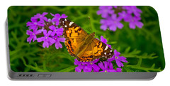 Painted Lady On Purple Verbena Portable Battery Charger