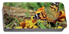 Painted Lady On Zinnia Portable Battery Charger
