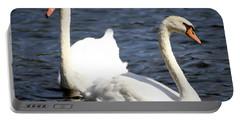 Painted Mute Swans Of Lake Junaluska North Carolina II Portable Battery Charger