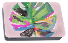 Portable Battery Charger featuring the mixed media Painted Palm Leaf 2- Art By Linda Woods by Linda Woods