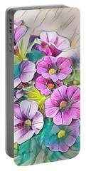 Painted Petunia Portable Battery Charger