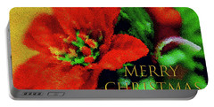 Painted Poinsettia Merry Christmas Portable Battery Charger