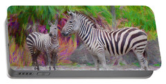 Portable Battery Charger featuring the painting Painted Zebra by Judy Kay