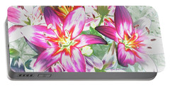 Painterly Pink Tiger Lilies Portable Battery Charger