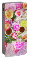 Painterly Tea Party With Fresh Garden Roses II Portable Battery Charger