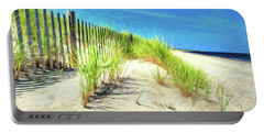 Portable Battery Charger featuring the photograph Painterly  Waterfront Dune Grass by Gary Slawsky
