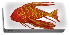 Painting Red Fish Portable Battery Charger