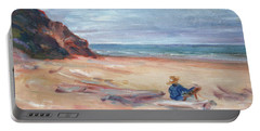 Painting The Coast - Scenic Landscape With Figure Portable Battery Charger