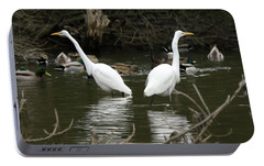 Portable Battery Charger featuring the photograph Pair Of Egrets by George Randy Bass