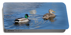 Pair Of Mallard Ducks Inthunder Bay Portable Battery Charger by Michael Peychich