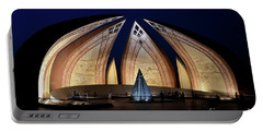 Pakistan Monument Illuminated At Night Islamabad Pakistan Portable Battery Charger